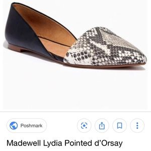 Madewell Lydia snakeskin leather d'orsay flats